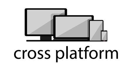 Cross-platform web content. Devices - smartphone, tablet, laptop and desktop computer with text below. Flat vector illustration. Multi-platform content.