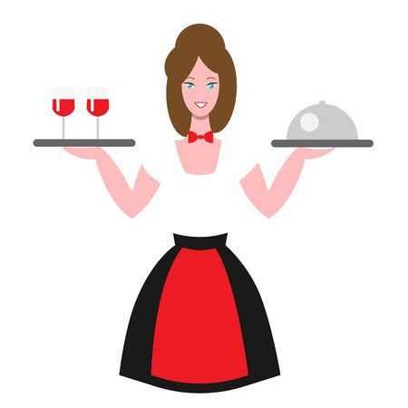 Waitress with two trays. Girl in uniform with an apron and a butterfly on the neck. A smiling brown-haired woman holds two trays of food and glasses of wine. Flat illustration for cafes and restaurants.