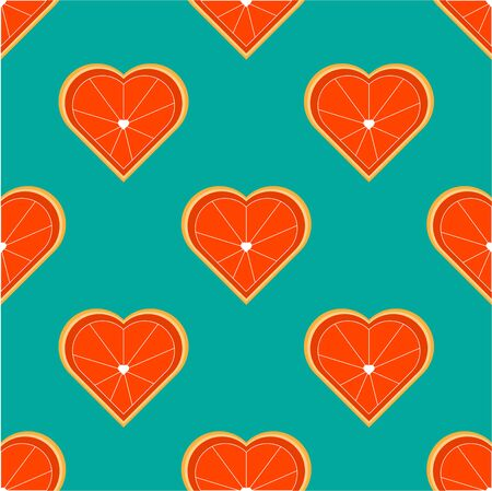 Seamless pattern with orange in the shape of a heart. Heart shaped citrus fruit cut. Suitable for paper, eco products, vegan cafes.
