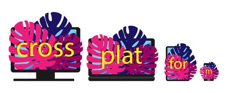 Cross-platform web content. Devices - smartphone, tablet, laptop and desktop computer with letters and leaves growing from the screens. Flat vector illustration. Multi-platform content.