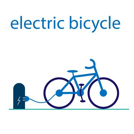 The electric bicycle is charged at the station through a wire. Vector flat illustration with text. Eco-friendly mode of transport. Bike sharing.