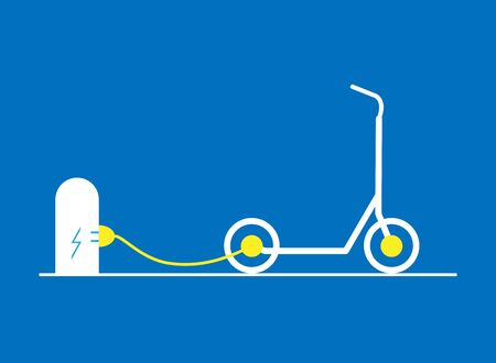 The electric scooter is charged at the station through a wire. Vector flat illustration. Eco-friendly mode of transport. Scooter sharing.