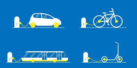 Seth electric transport in the city. Scooter, bike, car and bus. Charges at the station via cable. Suitable as a logo. Blue background Illustration