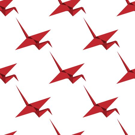 Red origami crane seamless pattern. A single object pattern. Crane in isometry. Suitable for paper, fabric, children or oriental motifs.