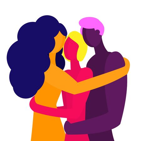 Polyamory in a relationship. Three people love each other and hug. A man and two girls. Unusual sexual orientation. Nude people in bright fashionable colors.