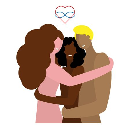 Polyamory of three people of different sexes and different nationalities. Custom love and open relationships. Embrace of three naked partners. Symbol polyamory heart and a sign of infinity. Illusztráció