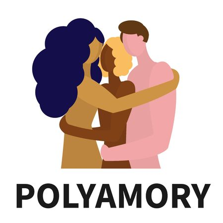 Polyamory of three people of different sexes and different nationalities. Custom love and open relationships. Embrace of three naked partners. The word polyamory under the picture.