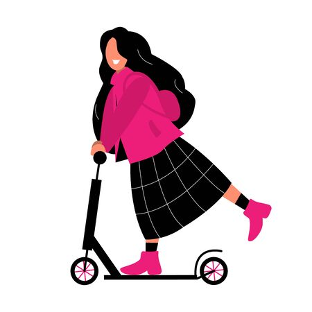 The girl rides an electric scooter around the city. Scooter sharing in the city is available to everyone. Fashionable transport for students. Woman in a pink jacket and black skirt.