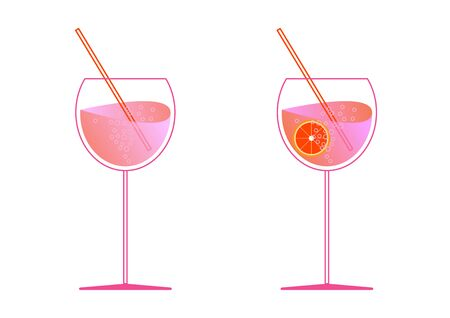 Aperol and prosecco in two glasses. Spritz cocktail in flat style for the menu, cocktail cards. Modern trendy classic cocktail Longdrink. White background