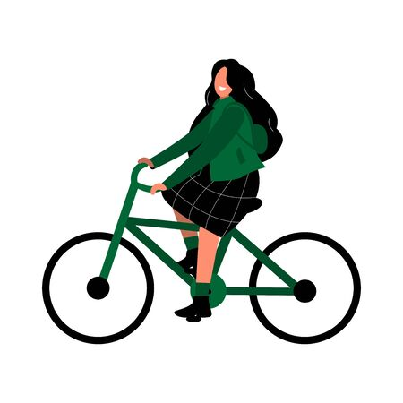 Girl rides a bicycle. Eco-friendly transport and bike sharing. A woman in a green jacket and skirt is riding an electric bike. Ilustração