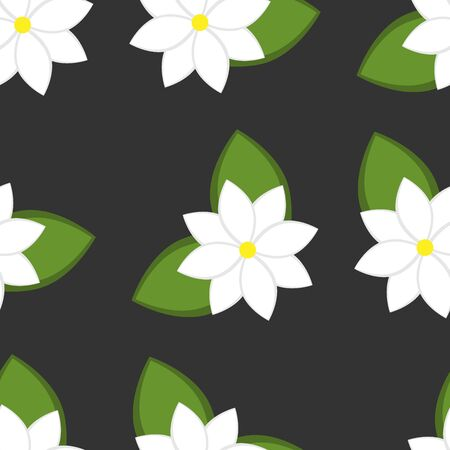 Seamless pattern with white jasmine flowers with green leaves. Illustration in a flat style for decoration, fabric or paper. Grey background