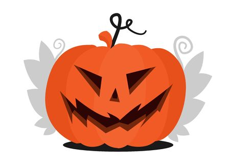 Halloween pumpkin head with scary face for Halloween. With leaves. Flat illustration for the holiday All Saints Day. Ilustração