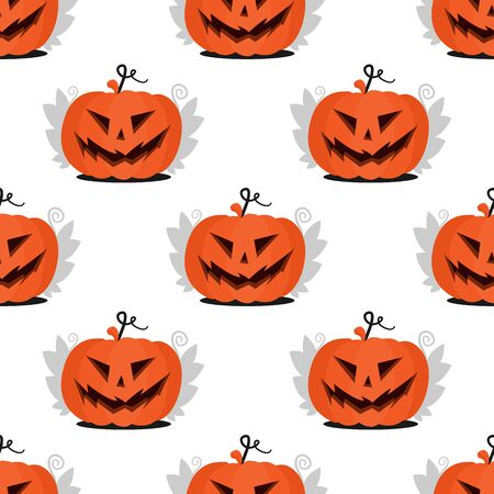Seamless pattern Jack pumpkin head with scary halloween face with leaves. Flat illustration for the holiday All Saints Day for paper, fabric decoration or invitation design. Stok Fotoğraf - 132230747