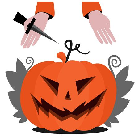 Halloween pumpkin head with scary face for Halloween with leaves. Hands of a man with a knife are preparing to cut. Flat illustration for the holiday All Saints Day.