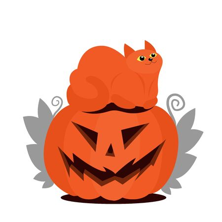 Jack pumpkin head and orange cat sitting on top. Leaves on the sides of a pumpkin. Flat Halloween illustration.