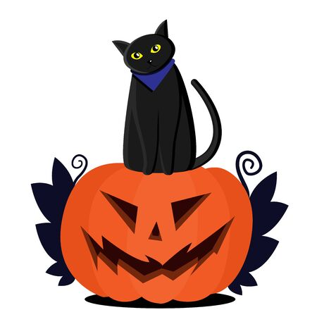 Jack pumpkin head and a black cat sitting on top. Leaves on the sides of a pumpkin. Flat Halloween illustration.