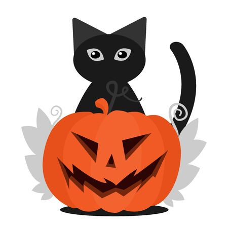 Jack pumpkin head and a black cat in the background. Leaves on the sides of a pumpkin. Flat Halloween illustration Ilustração