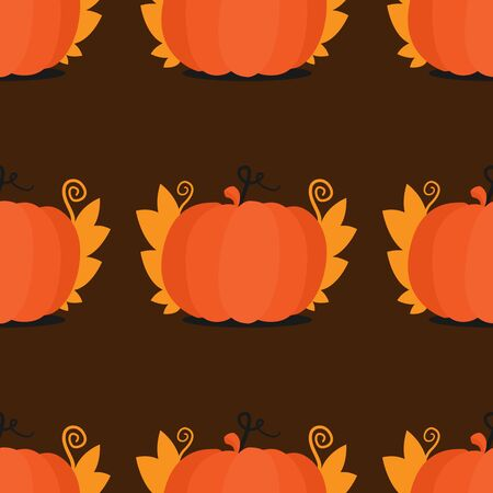 Seamless pattern with pumpkins and leaves. For decoration of the harvest festival, pumpkins, autumn, autumn solstice festival, Halloween.
