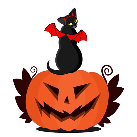 Black cat with wings and horns on a pumpkin for Halloween. Hellish devil cat and Jack s head. Suitable for tattoos and parties for Halloween or paraphernalia. Stok Fotoğraf - 132125295