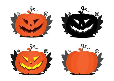 Set of several different halloween pumpkins. Autumn pumpkins with and without a face. Jack s head is silhouette and colored. Stock Illustratie