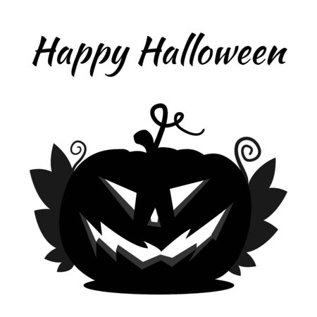 Halloween Jack Pumpkin Head. Pumpkin silhouette with an ominous smile, with leaves and text Happy Halloween. Ilustração