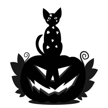 Halloween pumpkin head Jack and a cat sitting on his head. A silhouette of a pumpkin with an ominous smile, with leaves and a black cat with white butterflies.