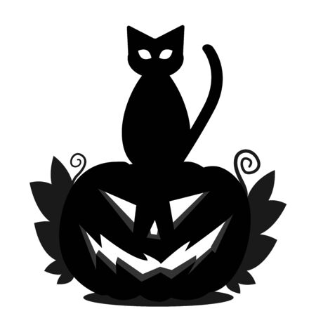 Halloween pumpkin head Jack and a cat sitting on his head. Silhouette of a pumpkin with an ominous smile, with leaves and a black cat. Ilustração