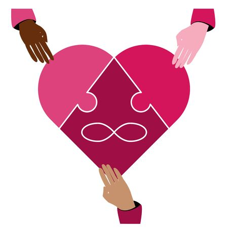 Symbol polyamory heart and the sign of infinity in the form of a puzzle. Three pieces of the puzzle and three hands of different races.