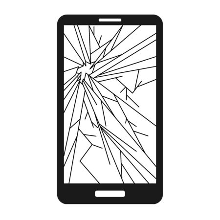 Broken smart phone with cracks all over the screen. Suitable for phone repair services. 版權商用圖片 - 132124366