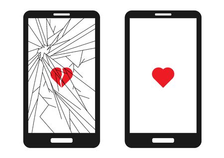 Broken smart phone with cracks all over the screen and a broken red heart. And a whole phone with a whole heart. Suitable for phone repair services. Stock Illustratie
