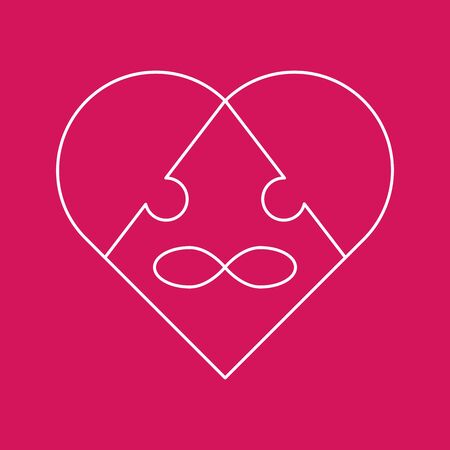 Symbol polyamory heart and the sign of infinity in the form of a puzzle. Three pieces of the puzzle. Stock Illustratie