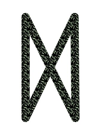Dagaz. Ancient Norse Fleece Futhark. Used in magic scripts, amulets, fortune telling. Scandinavian and Germanic writing.