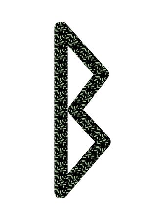 Berkana. Ancient Old Norse rune Futhark . Used in magic scripts, amulets, fortune telling. Scandinavian and Germanic writing.