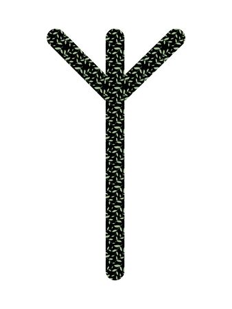 Algiz. Ancient Old Norse rune Futhark . Used in magic scripts, amulets, fortune telling. Scandinavian and Germanic writing. Çizim