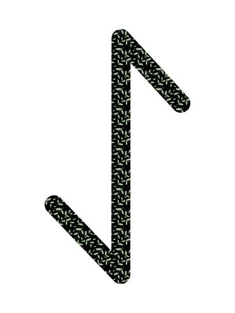 Eihwaz. Ancient Norse Fleece Futhark. Used in magic scripts, amulets, fortune telling. Scandinavian and Germanic writing. White background