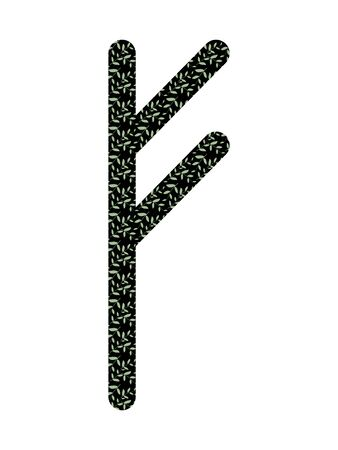 Fehu. Ancient Norse Fleece Futhark. Used in magic scripts, amulets, fortune telling. Scandinavian and Germanic writing. Çizim
