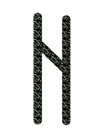 HAGALAZ. Ancient Norse Fleece Futhark. Used in magic scripts, amulets, fortune telling. Scandinavian and Germanic writing. White background Çizim