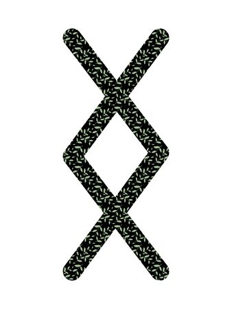 Inguz. Ancient Norse Fleece Futhark. Used in magic scripts, amulets, fortune telling. Scandinavian and Germanic writing.