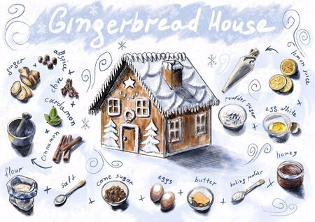 Gingerbread house recipe for Christmas and New Year. Sketch with drawn ingredients for making baking. Ginger, cinnamon, honey, cane sugar and other products. Captions in the figure. White background Stockfoto