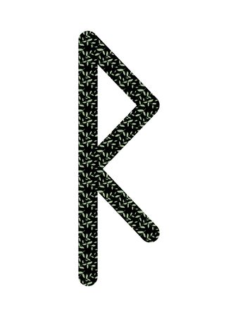 Raido. Ancient Scandinavian runes Futhark. Used in magical scripts, amulets, fortune telling. Scandinavian and Germanic writing. White background