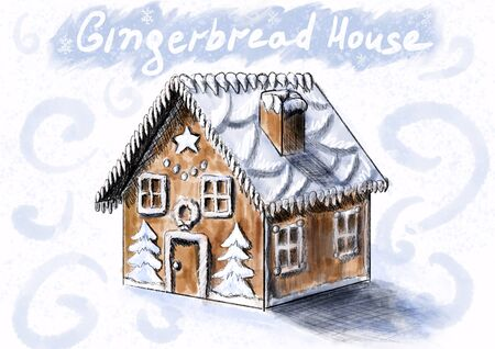 Gingerbread house for Christmas and New Year. A house in blue colors with sugar icing and decorated with icing sugar. With text on top. White background