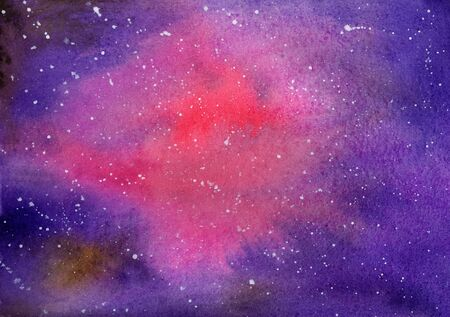 Abstract watercolor on paper. Background nebula, red, magenta, blue and purple. Painted by the photographer himself Stock Photo