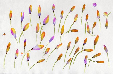 Abstract watercolor on paper. Leaves yellow, green, violet and purple. Painted by the photographer himself