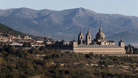 View of the Royal Monastery of El Escorial in San Lorenzo del Escorial. Madrid. Spain Stock Photo
