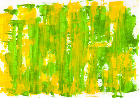 Abstract painting color texture, acrylic color background, knife texture, yellow, green. Self made Stock Photo