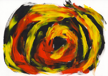 Abstract painting color texture, acrylic color background, knife texture, black, yellow, red. Self made