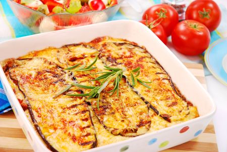 greek moussaka with aubergine,meat and cheese Stock Photo