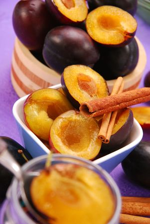 preparing preserves of plums with cinnamon Stock Photo - 5722480