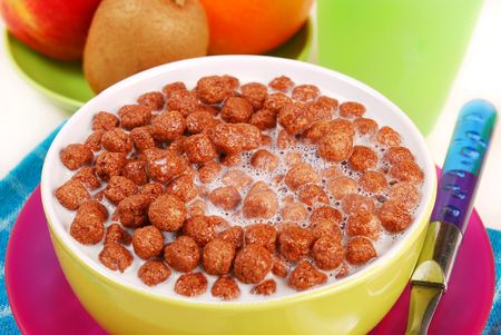 milk with chocolate balls  crisp for breakfast Stock Photo - 5775620