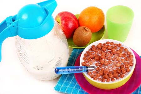 breakfast with chocolate balls crisp,milk and fresh fruits Stock Photo - 5775609